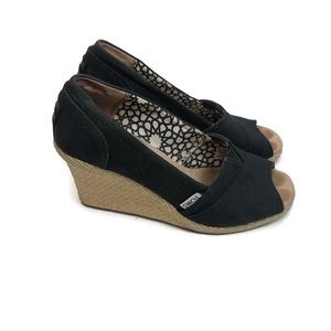 TOMS Classic Black Wedges Size 7.5